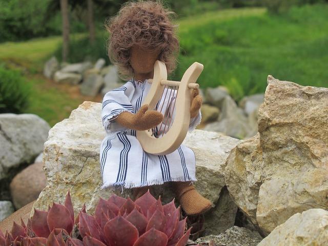 David figure harp, nature landscapes.