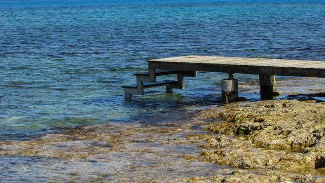 Deck beach sea, travel vacation.