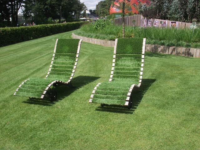 Deck chair grass relax, nature landscapes.