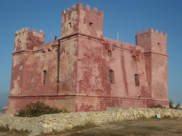 Defense masonry castle, architecture buildings.