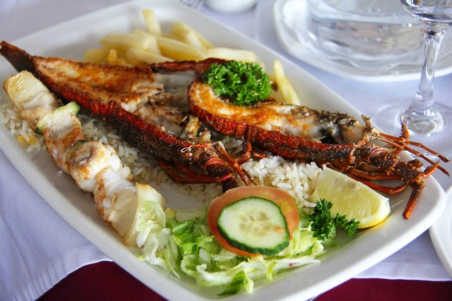 Delicious lobster fish, travel vacation.