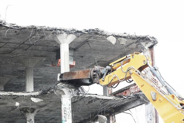 Demolish bulldozer tearing, industry craft.