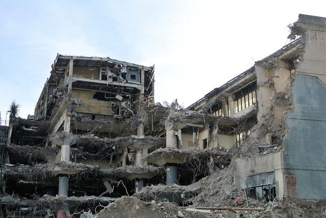 Demolition building destruction, architecture buildings.