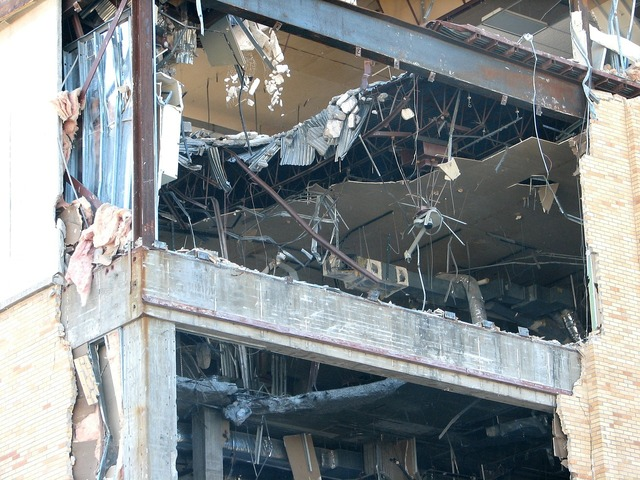 Demolition building disaster, architecture buildings.
