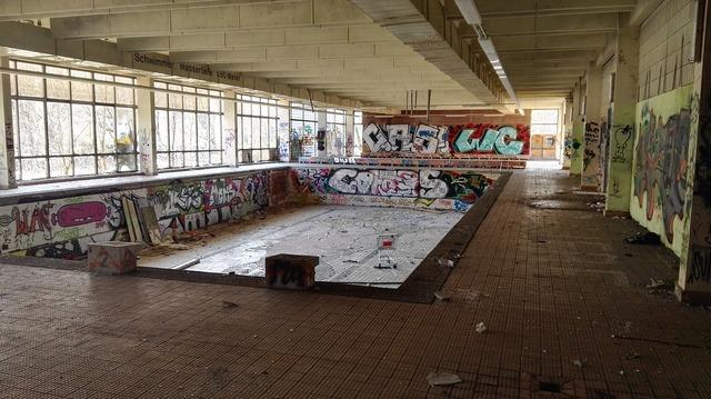 Demolition lapsed indoor swimming pool, architecture buildings.