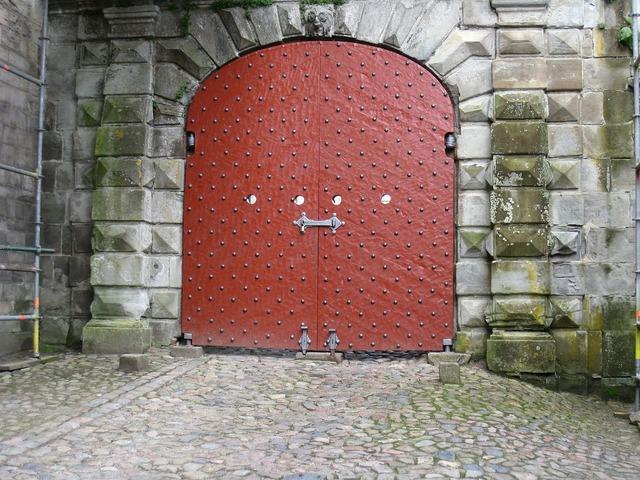 Denmark castle gate sheet metal, architecture buildings.