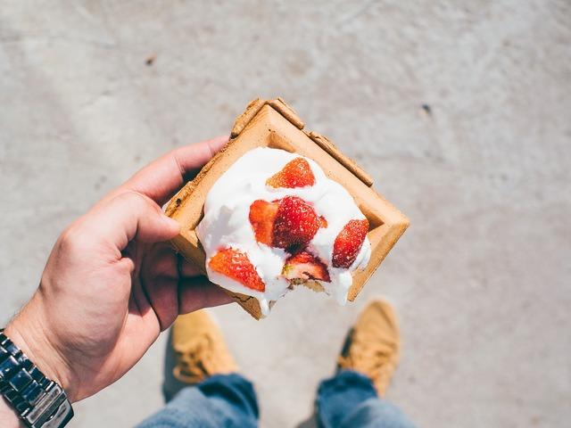 Dessert strawberries waffles, food drink.