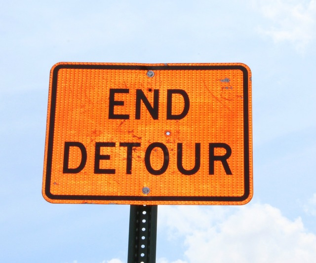 Detour sign street, transportation traffic.