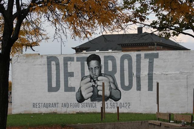 Detroit graffiti joe louis, architecture buildings.