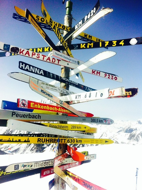 Direction ski target, sports.
