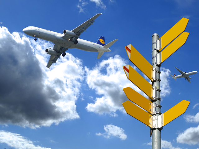 Directory signposts air routes.