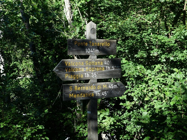 Directory signposts hiking trails.