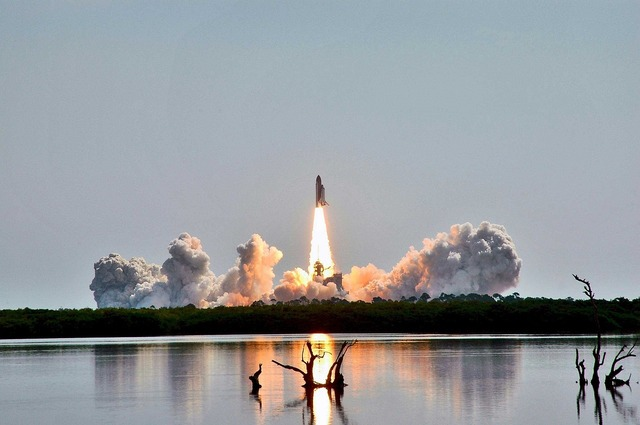 Discovery space shuttle launch mission.