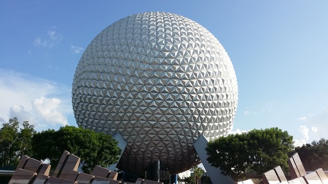 Disney land epcot ball epcot spaceship earth, science technology.