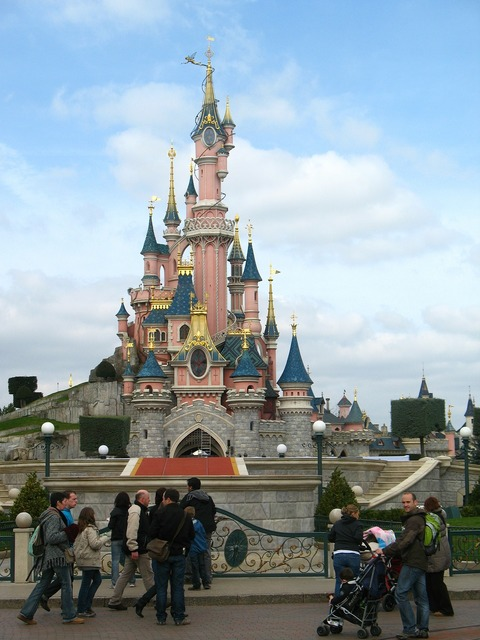 Disneyland castle fantasy, travel vacation.