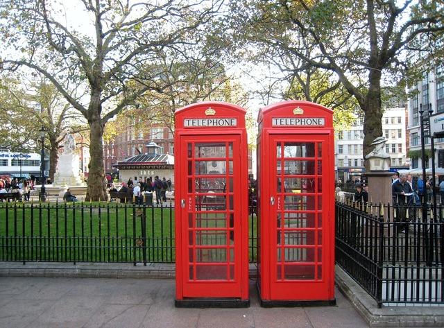 Dispensary london red telephone box, transportation traffic.