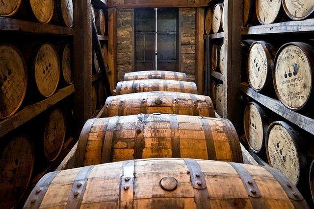 Distillery barrels wooden kegs bourbon, food drink.