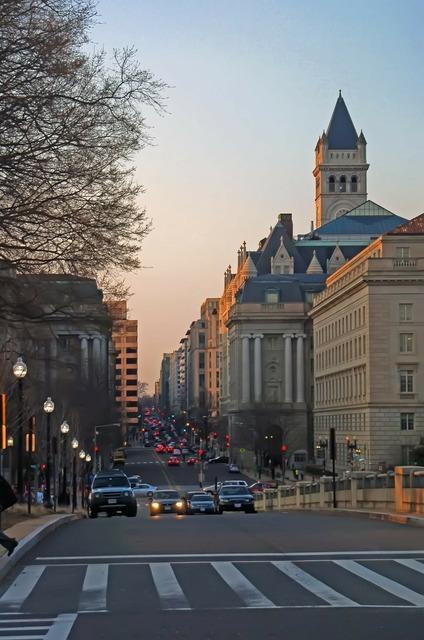 District financial sidewalk, architecture buildings.