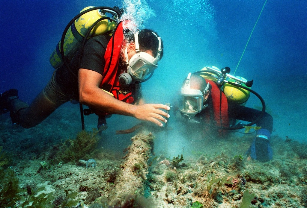 Divers diving sea.