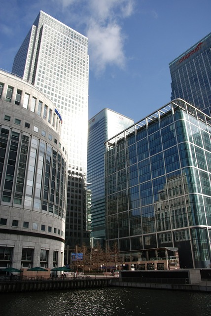 Docklands canary wharf, business finance.