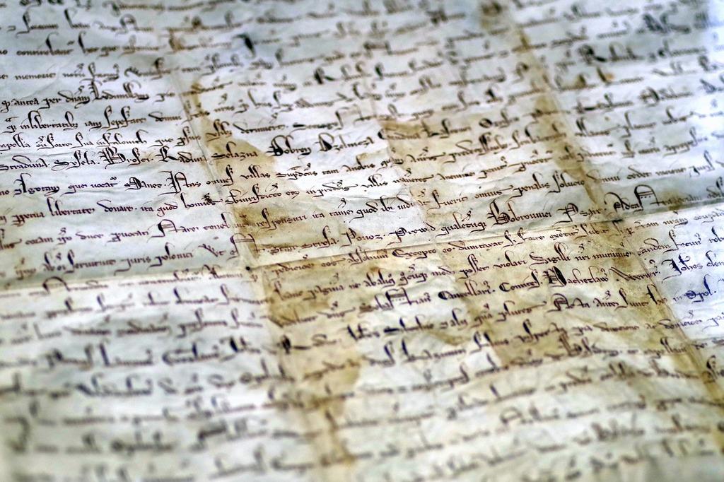 Document parchment the middle ages, places monuments.