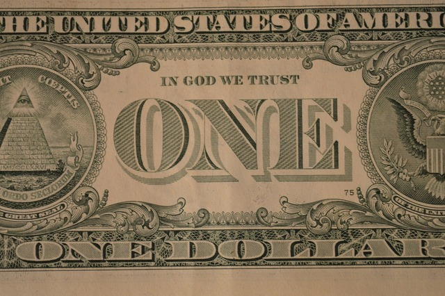 Dollar one banknote, business finance.
