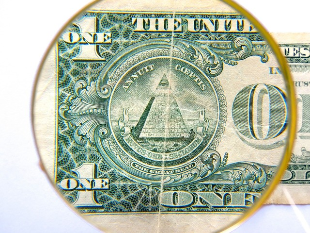 Dollar pyramid currency, business finance.