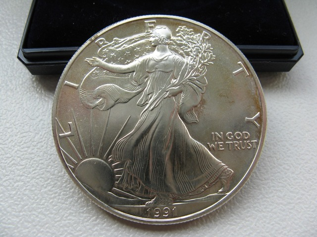 Dollar silver coin, business finance.