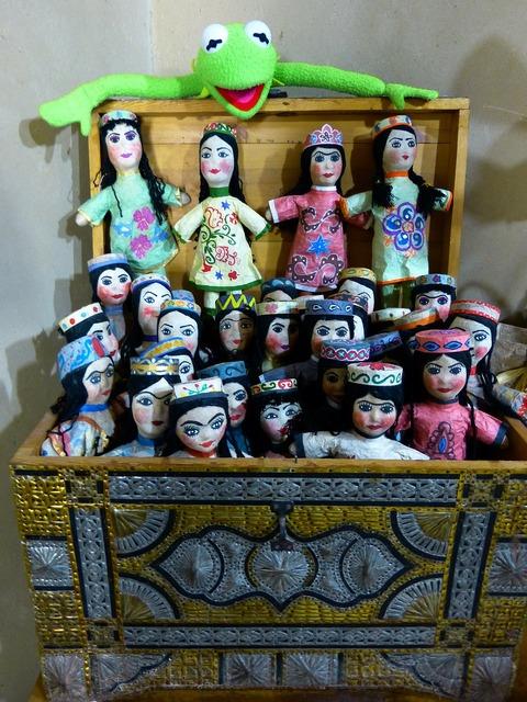 Dolls hand puppets puppet theatre.