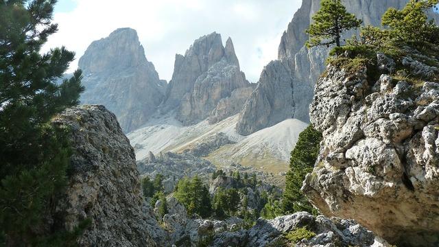Dolomites langkoffelgruppe stone city, nature landscapes.