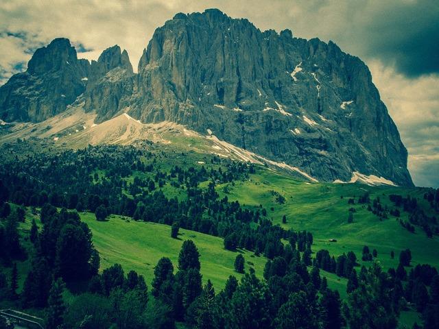 Dolomites sassolungo mountains.
