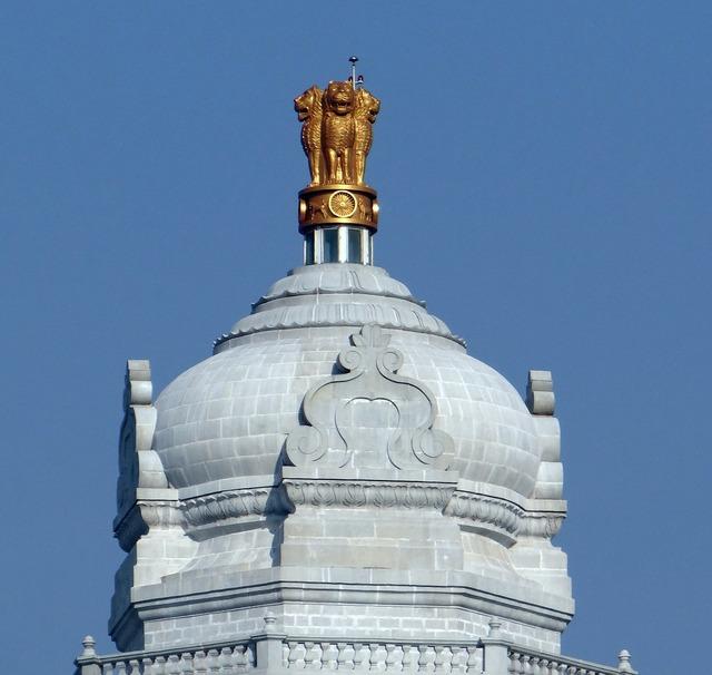 Dome ashoka emblem lion capital, architecture buildings.