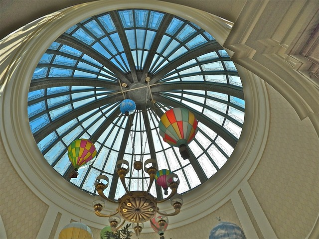 Dome skylight ceiling, backgrounds textures.