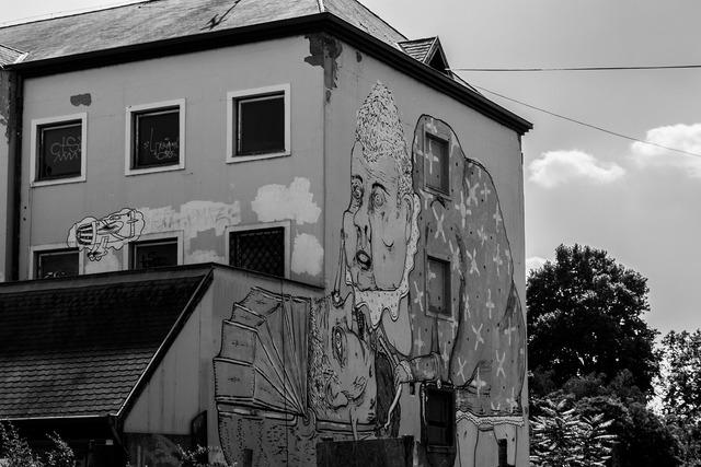 Doodle painting black, architecture buildings.