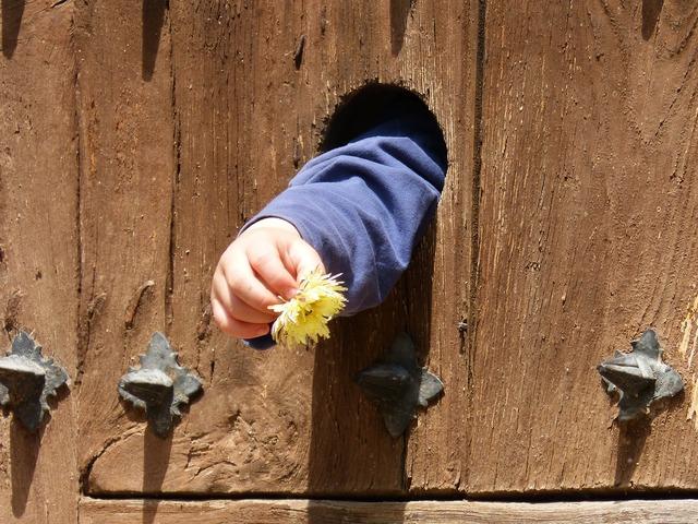 Door arm child hand.