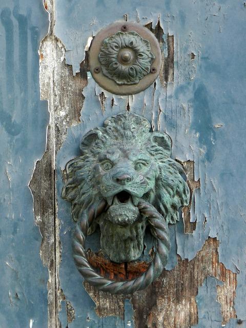 Door blue door knocker, architecture buildings.