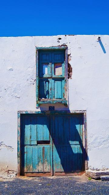 Door blue sky.