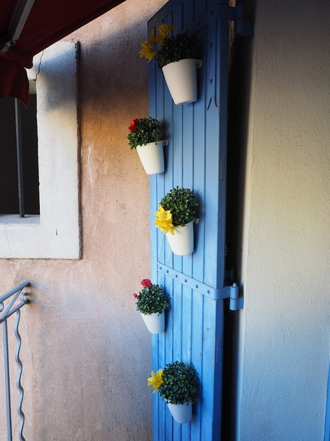 Door flower pots ornament, nature landscapes.
