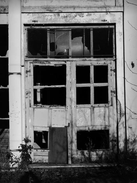 Door glass broken, architecture buildings.
