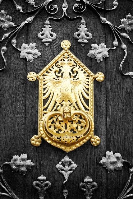 Door gold doorplate.