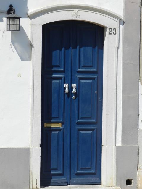 Door house blue, architecture buildings.