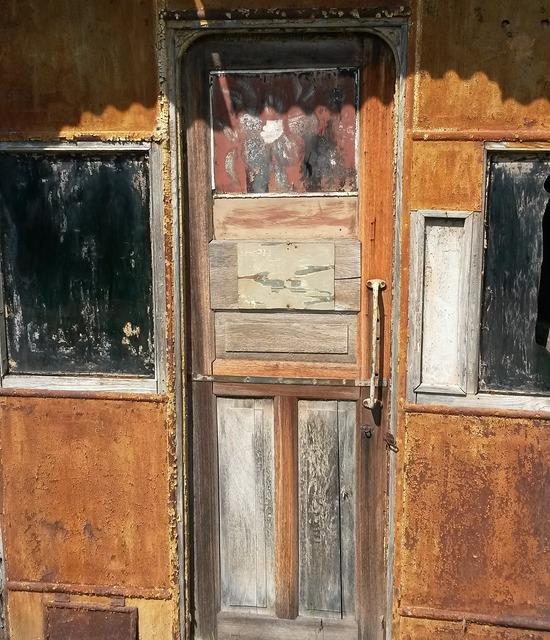 Door wood patina.