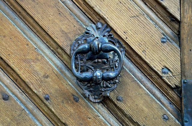 Doorknocker door castle.