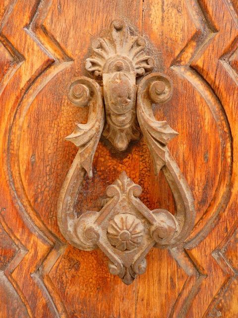 Doorknocker door wood.