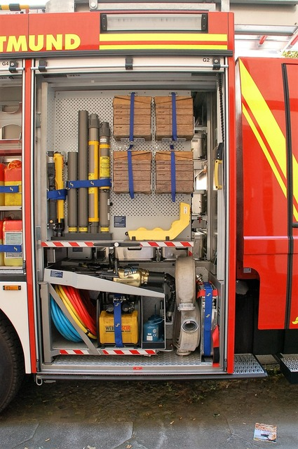 Dortmund fire truck equipment, transportation traffic.