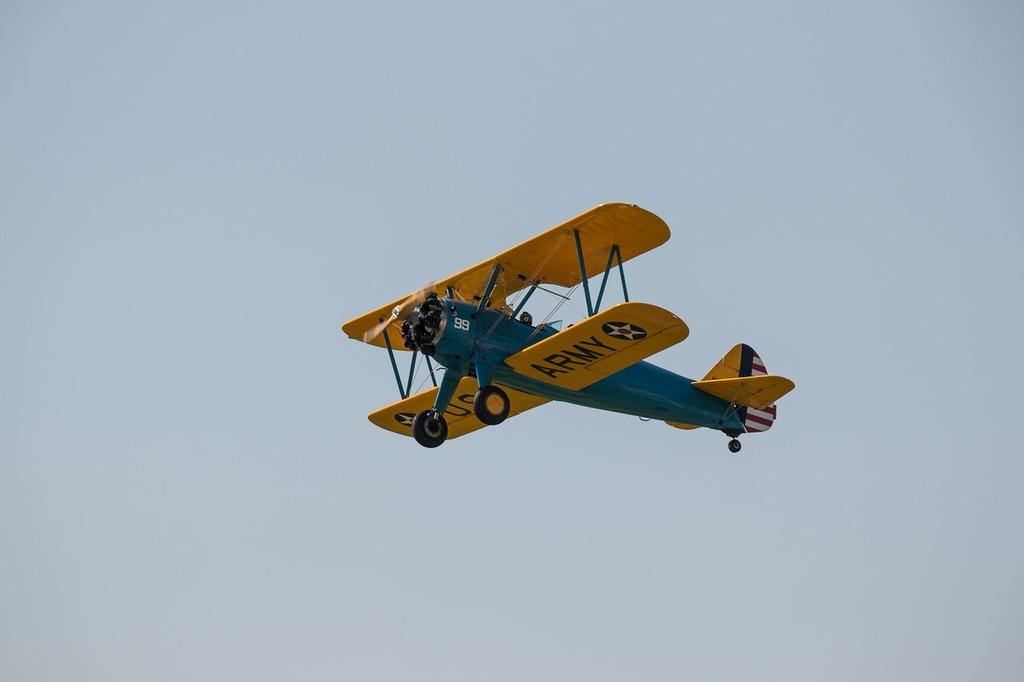 Double decker aircraft fly.
