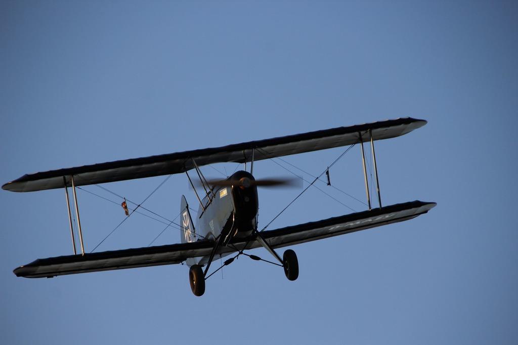 Double decker aircraft propeller plane.