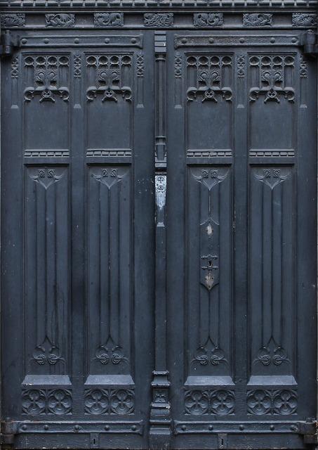 Double doors entrance exit, architecture buildings.