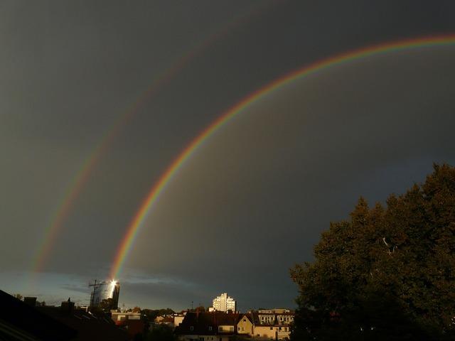 Double rainbow rainbow secondary rainbow, nature landscapes.
