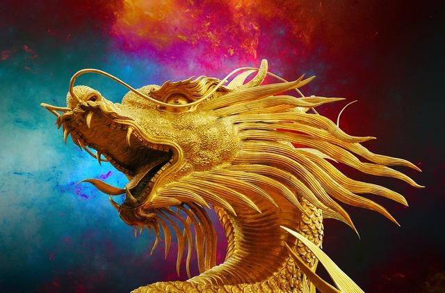 Dragon broncefigur golden dragon.
